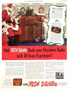 """Only RCA Victor backs your Christmas radio with 40 years experience!"" RCA Victor 1938. The Saturday Evening Post."