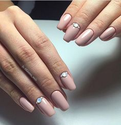 Beige and pastel nails, Evening nails, Half moonnails with rhinestones, Holiday nails by shellac, Long nails, Nails for autumn dress, Nails with liquid stones, Party nails