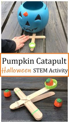 pumpkin craftstick catapult Halloween STEM activity It's super easy to make a craft stick catapult. Find out how to make a pumpkin catapult for a fun Halloween STEM activity that can become a Halloween game for kids. Halloween Tags, Halloween Science, Halloween Activities For Kids, Halloween Crafts For Kids, Creative Activities, Stem Activities, Halloween Pumpkins, Preschool Halloween, Therapy Activities