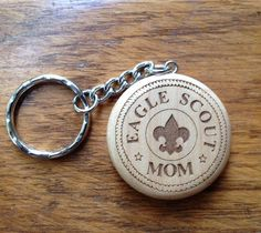 Eagle Scout Round Maple Keychain 2 Custom Laser by maggietaggie