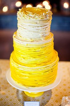 yellow ombre wedding cake, don't like the design but love the color Pretty Cakes, Beautiful Cakes, Cupcake Cakes, Cupcakes, Cake Icing, Buttercream Cake, Frosting, Naked Cakes, Ombre Cake