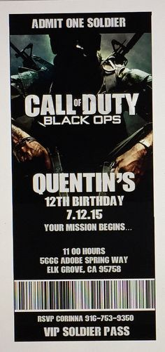 Call of Duty Xbox Theme Birthday Party by PaperAndTaigh on Etsy