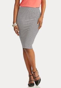 Cato Fashions Nautical Striped Midi Skirt #CatoFashions