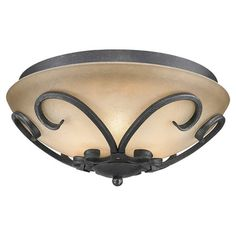 Showcasing a black finish and hand-forged steel scrollwork, this sophisticated flush mount is an elegant addition to your living room or foyer.