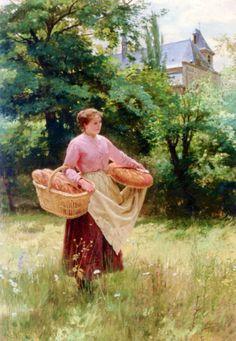 Girl with Loves of Bread - Louis-Emile Adan