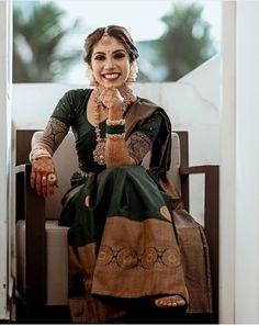 Indian Bride Poses, South Indian Wedding Saree, Indian Bridal Sarees, Indian Wedding Wear, Indian Bridal Outfits, Pakistani Bridal Dresses, Kerala Saree Blouse Designs, Half Saree Designs, Kerala Bride