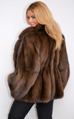 Top trendy fox fur coat jacket fuchs pelz wie zobel sable mink
