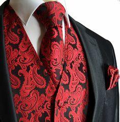 Shop Men's Ferrecci Black Red size Vests at a discounted price at Poshmark. Description: Black and Red Tuxedo Vest and Tie no handkerchief. Mens Tuxedo Suits, Tuxedo Vest, Tuxedo For Men, Groom Tuxedo, Wedding Vest, Purple Wedding, Wedding Suits, Wedding Tuxedos, Wedding Attire
