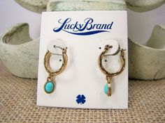 Lucky Brand  Turquoise Stone Gold Tone Mini Hoop Earrings MSRP $25 #LuckyBrand #DropDangle $22.99 with free shipping!