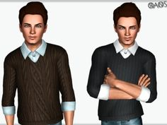 Male sweater with shirt by Oranos - Sims 3 Downloads CC Caboodle