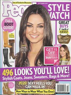 People Style Watch magazine Mila Kunis Fall boot guide Coats Jeans Sweaters Bags