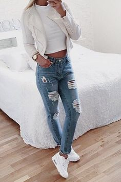 Outfits With Heels Part Cute Winter Outfits (Ripped Jeans) Slideshow: Read more: 4 Tips to Improve Overall Appearance and Fashion Trends - Today Pin Cute Winter Outfits, Fall Outfits, Summer Outfits, Casual Outfits, Rue 21 Outfits, Casual Wear, Teen Fashion, Fashion Outfits, Womens Fashion