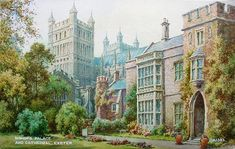 Frederick Parr - Antique Picture of The Bishops Palace Exeter Exeter Cathedral, Nicholas Nickleby, Antique Pictures, Life Is An Adventure, Devon, Palace, English, Fine Art, Architecture