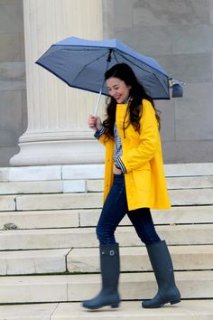 Happy Tuesday everyone! Today is super gloomy and rainy, but I am so excited to wear my favorite rain coat! I love the yellow and navy comb...