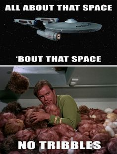 """Funny Star Trek Meme - All about that space no tribbles - the look on Shatner's face, guys. """"Captain's log, this is ridiculous.""""   I wanna give Captain Kirk a hug and tell him it'll be okay.  - Steph Calvert Art"""