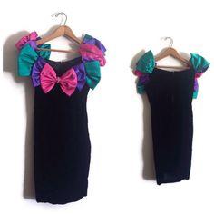 prom Vintage Prom Dress 5 Black Velour B - 80s Prom Dress Costume, 80s Party Costumes, 80s Costume, Costume Ideas, Old School Fashion, 80s Fashion, 1980s Prom, Gala Dresses, Prom Party