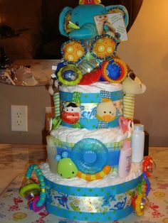 Playful bold colors unisex diaper cake