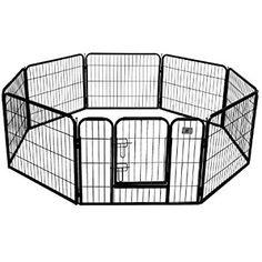BestPet Heavy Duty Pet Playpen Dog Cat Fence B Exercise Pen, 24-Inch, Black