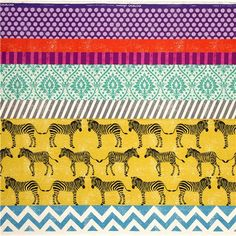 echino canvas fabric yellow zebras & stripes Japan - Echino Fabric - Fabric - kawaii shop modeS4u