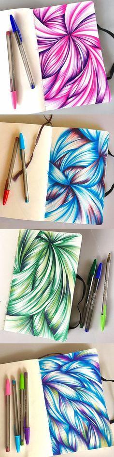 Multi-color de dibujos bolígrafo de bocetos a partir de 2016 #sketchbookdrawings #artsandcraftshomes,