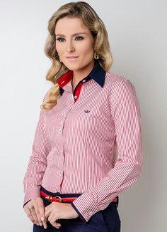 Camisa Feminina Manga Longa Vermelha Principessa - Principessa Camisaria fc5e706a9a1