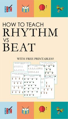 Ideas for Teaching Rhythm vs Beat (Part — Victoria Boler Want to add more music to your child's day? Try this activity that teaches the difference between beat and rhythm. Use the free printables t Music Lesson Plans, Music Worksheets, Piano Teaching, Teaching Kids, Music For Kids, Music Lessons For Kids, Children Music, Music Classroom, Music Teachers