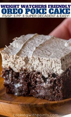 poke cake Weight Watchers friendly Oreo Poke Cake made with applesauce, filled with condensed milk and Oreo Flavored whipped topping for just 6 smart points per serving. Oreo Torta, Oreo Poke Cakes, Poke Cake Recipes, Ww Recipes, Poke Recipe, Recipies, Lunch Recipes, Coconut Poke Cakes, Skinny Recipes