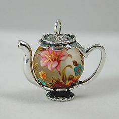 Japanese Floral Lilly Bead (14mm) :on a Victorian Dangle necklace at teapot jewelry.com