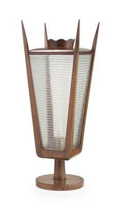 Gino Sarfatti; Walnut and Glass Table Lamp for Arteluce, 1940s.