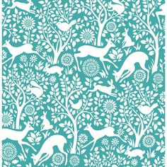 This animal wallpaper is perfect for a touch of folklore in decor and adds a whimsical touch to any room. Sweet songbirds, happy bunnies, mischievous squirrels and gentle deer are all home in an enchanted forest. The background and print have a modern appeal while the folk art inspired drawing adds a classic elegance. Chirping birds, playful bunnies, mischievous squirrels and sweet deer walk among this animal wallpaper. The Scandinavian folk style has a modern appeal with crisp bright white…