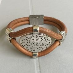 Silver and Tan Leather Bracelet by joytoyou41 on Etsy