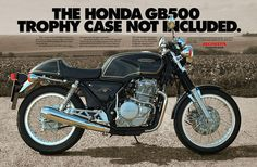 Print ad created by Michael Pitzer at Dailey & Associates, LA for the Honda GB500 TT introduction.