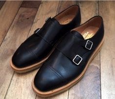 Black Leather Monk Strap Shoes, by Mark McNairy, Men's Fall Winter Fashion.