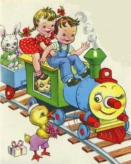 Colorful.....Kids on a toy train...illustration from a vintage book.