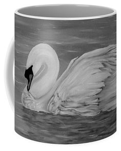 Swan Coffee Mug featuring the drawing Lone Swan by Faye Anastasopoulou Mugs For Sale, Lonely, Swan, Coffee Mugs, Tapestry, Ceramics, Drawings, Artist, Painting