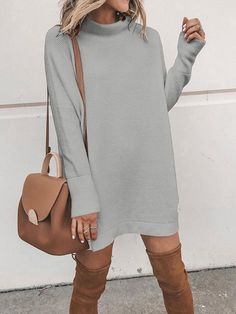 Grey High Neck Long Sleeve Casual Mini Dress