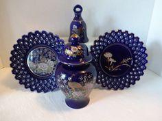 Vintage Porcelain Japan Ginger Jar Plate Bell Set in Cobalt Blue | Floor2atBreck - Home Decor on ArtFire