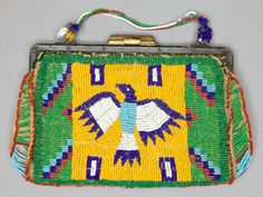 A SIOUX BEADED HIDE PURSE c. 1900 sinew sewn and lane-stitched in two shades of blue, white, and white-heart - Available at 2013 May 10 American Indian,. Native American Clothing, Native American Crafts, Native American Artifacts, Native American Tribes, American Indian Art, Native Americans, Indian Beadwork, Native Beadwork, Native American Beadwork