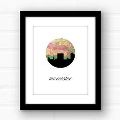 Worcester Massachusetts // Worcester skyline by PaperFinchDesign