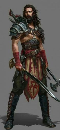 male warrior / barbarian curved sword and axe layered armour male RPG character inspiration for DnD / Pathfinder Fantasy Male, Fantasy Armor, Medieval Fantasy, Fantasy Art Warrior, Warrior Drawing, Warrior Concept Art, Fantasy Fighter, Old Warrior, Dragon Warrior