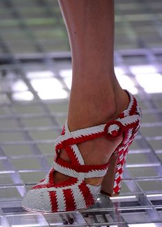 Red and White Woven Heels