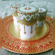 Handcrafted Scented Henna Candle Set / Wedding by ShadesOfArts