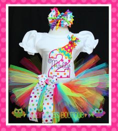 Custom baby or toddler girl monogrammed puff sleeved shirt or onesie, tutu, and bow - Confetti and Streamers Rainbow Birthday Tutu Outfit on Etsy, $74.95