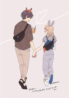 Cute Couple Drawings, Cute Couple Art, Anime Couples Drawings, Anime Love Couple, Anime Couples Manga, Chica Anime Manga, Cute Drawings, Kawaii Anime, Cute Characters