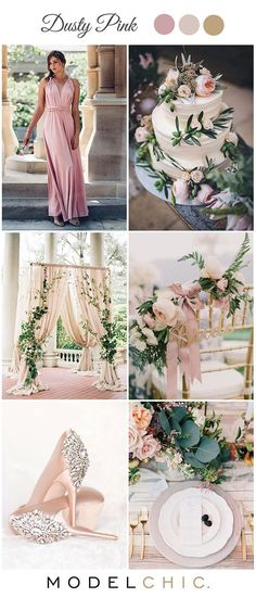 Dusty blush pink and gold wedding colour ideas featuring our convertible multiway bridesmaid dress | For more dresses visit: modelchic.com.au