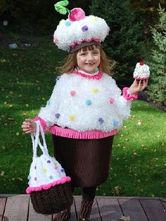 To make this decadent costume, use white fuzzy fabric for frosting and pom-poms for the sprinkles.                 Submitted by: jenniferplagens