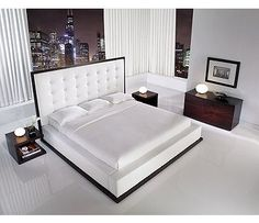 White Platform Bed with Tall Leather Headboard by ludlow