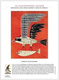 The Illustrated Aviary, from Audubon magazine. Art director: Kevin Fisher, illustrator: David Plunkert. See more pages of the Illustrated Aviary here: http://www.robertnewman.com/audubon-magazines-illustrated-aviary/