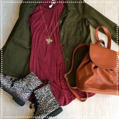 Look cute and cool any day when you pair up a cool utility jacket with a simple dress and these a pair of flowery combat boots. All these items can be found at our Lincoln Park Location today. (773)549-2070. http://ift.tt/2jSfmbi - http://ift.tt/1HQJd81
