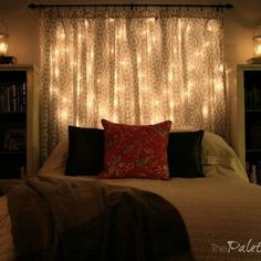 s 14 string light ideas that are cozier than your bed, bedroom ideas, lighting, Starry Headboard